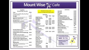 Mount Wise Cafe Menu